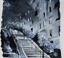 In the blue of the night - Paris - Watercolor by nicolasjolly