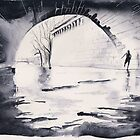 Under the bridge - Paris - Watercolor by nicolasjolly