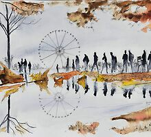 Grande roue - Paris - Watercolor by nicolasjolly