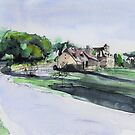 French village - Watercolor by nicolasjolly