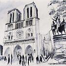 Le parvis de notre-Dame - Paris - Watercolor by nicolasjolly