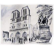 Le parvis de notre-Dame - Paris - Watercolor Poster