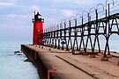 South Haven Lighthouse with Catwalk by Kenneth Keifer