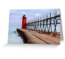 South Haven Lighthouse with Catwalk Greeting Card