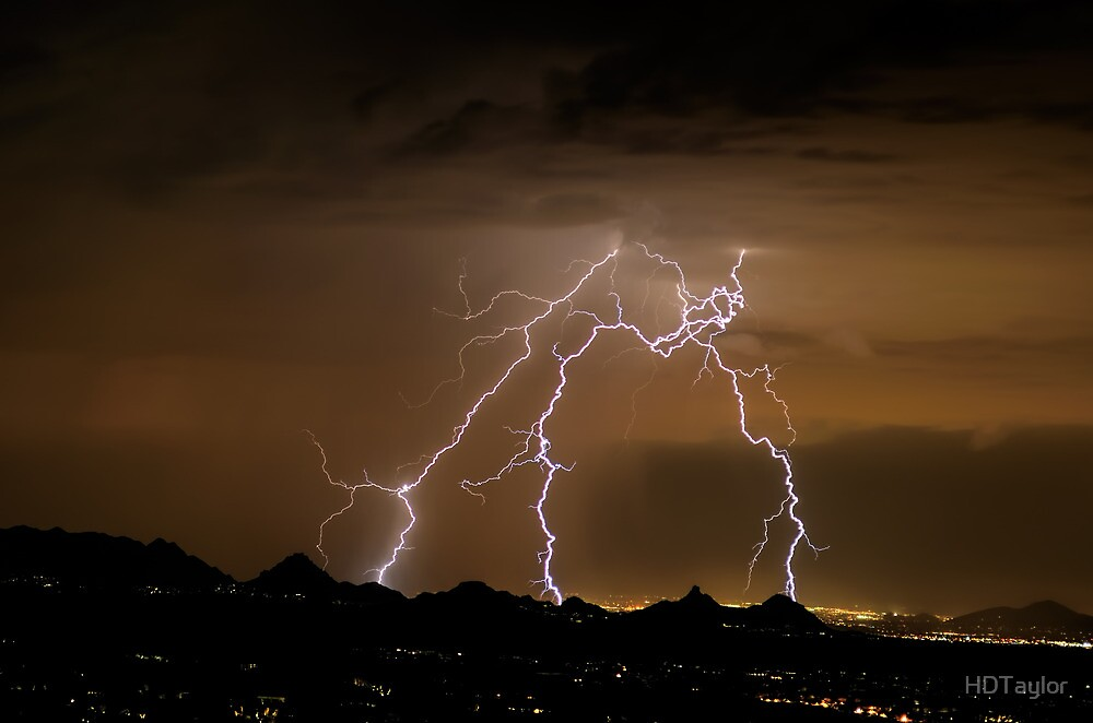 Monsoon Lightning Shower Over Pinnacle Peak by HDTaylor