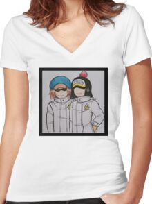 Shachi and Penguin Women's Fitted V-Neck T-Shirt
