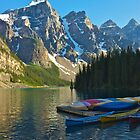 Canoe Dock at Moraine Lake by Luann wilslef