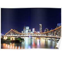 Brisbane CBD Skyline @ Night Poster
