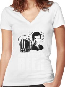 A Mother Effin' Beer Women's Fitted V-Neck T-Shirt