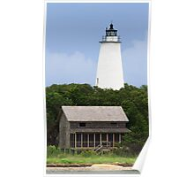 Ocracoke Light and Beach House Poster