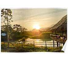 Sunset behind the Mountains in Vang Vieng Poster