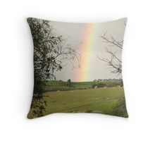 Winter Rainbow over the paddocks, 'Arilka' Adelaide Hills,Sth. Australia. Throw Pillow