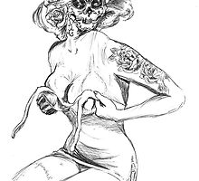 Fit To Be Tied Sugar Skull by Tony Heath
