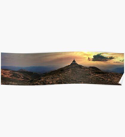 Bushfire Sunset, Mt Buller Poster