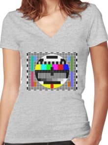 ABC TV Test Pattern Women's Fitted V-Neck T-Shirt