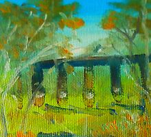 The Trestle Bridge Pyalong VIC Australia by Margaret Morgan (Watkins)