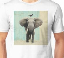 friends for life - elephant and a black bird Unisex T-Shirt