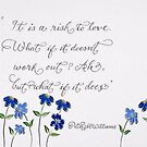 Risk of Love quote calligraphy art by Melissa Goza