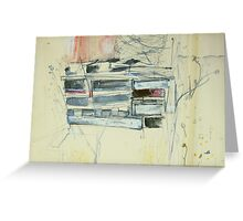 pallets behind shearers shed at Foyleview Greeting Card