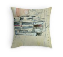 pallets behind shearers shed at Foyleview Throw Pillow