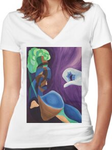 The Broccoli-haired man Women's Fitted V-Neck T-Shirt