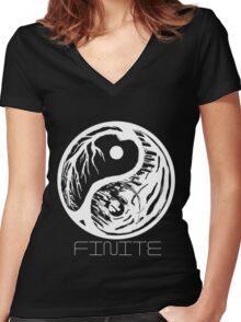 Finite - ying yang city Women's Fitted V-Neck T-Shirt