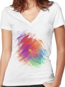 Apophysis Fractal Design - Enhanced Rainbow Flower  Women's Fitted V-Neck T-Shirt