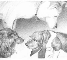 """Puppy welcome committee"" drawing by Mike Theuer"