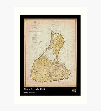 Vintage Print Image of Block Island - 1914 Art Print