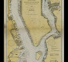 Vintage Print of the Hudson and East Rivers - 1929 by aocimages