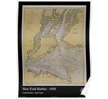 Vintage Print of New York Harbor - 1930 Poster