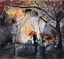 Autumn rain - Watercolor by nicolasjolly