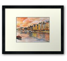 Sunset over Honfleur - Watercolor Framed Print