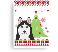 Husky Ugly Christmas Sweater Canvas Print