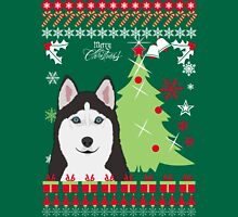 Husky Ugly Christmas Sweater Womens Fitted T-Shirt