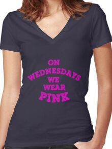 On Wednesdays We Wear Pink. Women's Fitted V-Neck T-Shirt