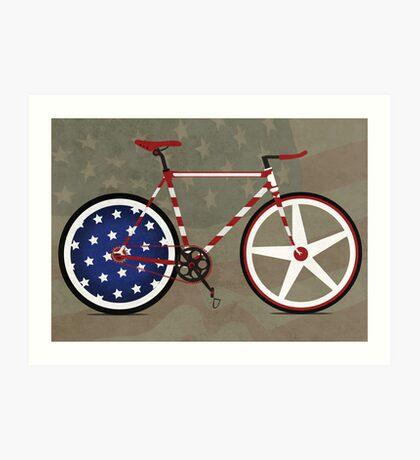 I Love My American  Bike Art Print