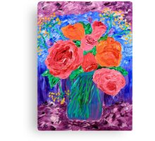 Bouquet of English Roses in Mason Jar Painting Canvas Print