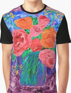 Bouquet of English Roses in Mason Jar Painting Graphic T-Shirt