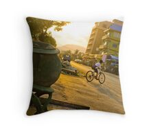 Kid Riding his Bike Throw Pillow