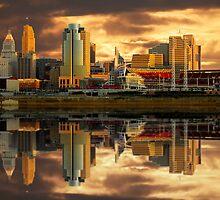 Cincinnati  Queen City gold glow Reflections by Randy Branham
