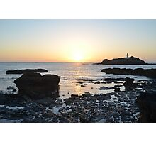 Sunset over Gwithian Island Photographic Print