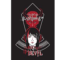 Headphones vs. the Devil Photographic Print
