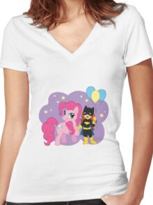 Batgirl and Pinkie Pie Women's Fitted V-Neck T-Shirt