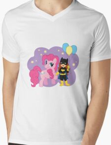 Batgirl and Pinkie Pie Mens V-Neck T-Shirt