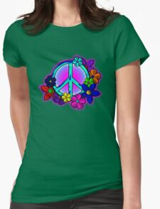 Peace Love and Flowers Tee Womens Fitted T-Shirt