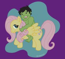 Hulk and Fluttershy by beckadoodles