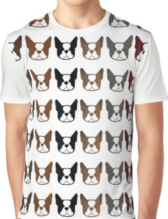 Boston Terriers! Black and white, brindle, gray, brown, and seal Bosties Graphic T-Shirt
