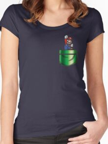 Mario Pipe Pocket Women's Fitted Scoop T-Shirt