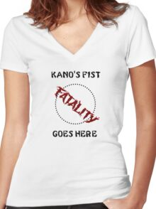 Kano's Fist Women's Fitted V-Neck T-Shirt